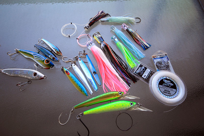 An assortment of lures used